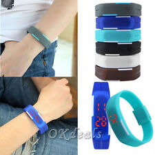 New Womens Mens Silicone Digital LED Sports Touch Bracelet Wrist Watch MON