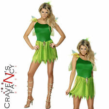 Woodland Fairy Costume Sexy Adult Tinkerbell Peter Pan Ladies Womens Fancy Dress