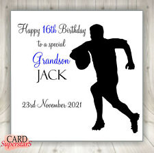 """Personalised 'RUGBY' Birthday Card Dad Brother Grandad ANY RELATION 6"""" or 8""""sq"""