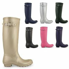 WOMENS LADIES FESTIVAL WELLIES WELLINGTON KNEE HIGH SNOW RAIN BOOTS SHOES SIZE