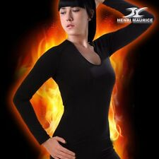 Womens Thermal Underwear Long Sleeve Compression Base Layer Shirt Round Neck CSW