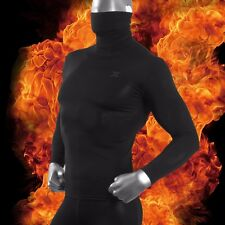 Mens Turtle Neck Shirt Long Sleeve Black Thermal Compression Base Layer HOM
