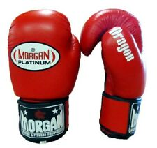 MORGAN PLATINUM RED LEATHER SPARRING GLOVES BOXING MMA (ABA APPROVED)