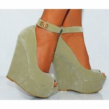 WOMENS BEIGE WEDGED PLATFORMS WEDGES HIGH HEELS PEEP TOES ANKLE STRAP SHOES