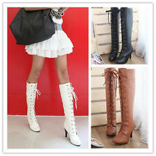 Womens Fashion PU Leather Lace Up High Heel Platform Knee High Boots BO127-129
