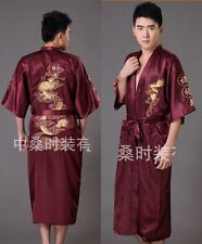 Burgundy Chinese style men's silk bathrobe gown/Robe Size M L XL XXL XXXL