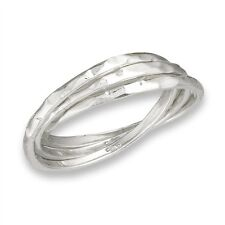 Sterling Silver Hammered Russian Wedding Band 3-Band Rolling Ring Size 6-10