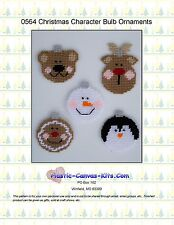 Christmas Character Bulb Ornaments-Reindeer-Bear-Plastic Canvas Pattern or Kit