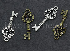 Lot 10/40/200pcs Tibetan Silver Beautiful Two-Sided Key Charms Pendant 27x10mm