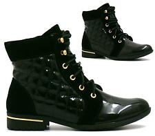 LADIES LOW HEEL FLAT LACE UP QUILTED PATENT FASHION ANKLE BOOTS SHOES SIZE