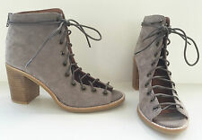 JEFFREY CAMPBELL CORS TAUPE SUEDE PEEP TOE LACE UP BOOTIE