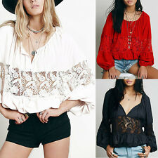 Women Vintage Lace Crochet Hollow Out Bat sleeve Loose Shirt Tops Blouse T-shirt