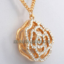 Fashion Rhinestone Hollow Rose Flower Necklace Pendant 18KGP Crystal