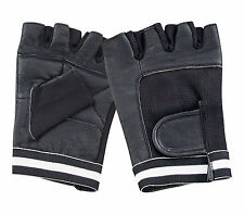 LEATHER FINGERLESS GLOVES WHEELCHAIR GYM DRIVING CYCLING  BIKER  PADDED RAWHIDE
