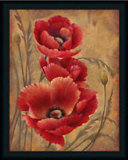 Poppy Passion I Contemporary Floral Framed Art Print Wall Décor Picture