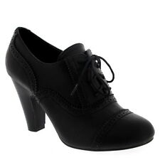 Womens Mary Jane Brogue Work Office Shoes Lace Up Ankle Boot Cuban Heels US 5-10