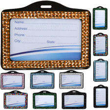 Bling Rhinestone Horizontal ID Badge Holder Pocket Business Card Name Tag Sleeve