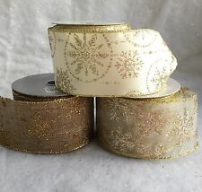 1m Christmas Cake Ribbon Gold Glitter Snowflake Edge Wire Christmas Vintage