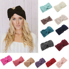 Women Handmade Crochet knit Bow Knot Headband Warm Winter Hairband Headwrap Hat