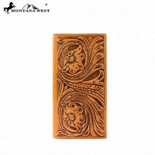 MONTANA WEST MEN'S BI-FOLD WESTERN HAND TOOLED LEATHER COWBOY RODEO WALLET LW001