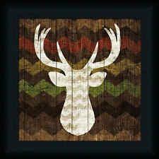 Southwest Lodge Deer II 12x12 Animal Silhouette Chevron Framed Art Picture