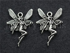 10/40/200pcs Antique Silver Beautiful Angel Jewelry Charms Pendant DIY 21x14mm
