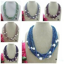 20'' 10 Strands Faceted Crystal Baroque Pearl Necklace