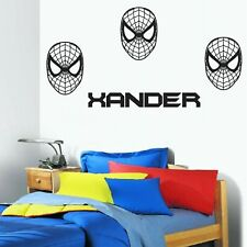 Personalised Name /text & SPIDERMAN MASK Removable Kids Wall Sticker vinyl decal