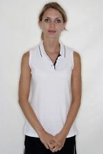 Womens Ladies Plain WHITE Sleeveless Tennis Polo Shirt