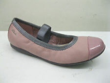 GIRLS CLARKS SLIP ON VINTAGE PINK LEATHER SHOES STYLE DANCE FLEX