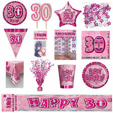 30th Pink Glitz Birthday Party Supplies Decorations Tableware Banners Balloons