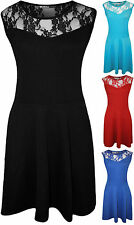New Plus Size Womens Plain Lace Sleeveless Ladies Short Skater Party Dress 14-28