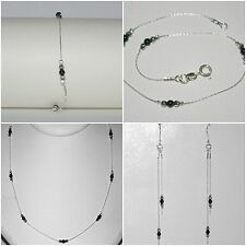 3 pcs LOTS Onyx & Sterling Silver 925 Beads BRACELETS ANKLETS NECKLACES EARRINGS