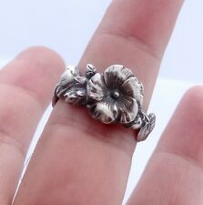 Silver Spoon Ring Hollyhock Sterling Silver Reed & Barton Harlequin Floral Ring