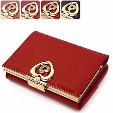 Genuine Patent Leather Heart Women Trifold Wallet Coin Purse Card Holder Case