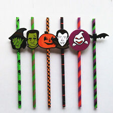25 Colored Paper Drinking Straws with Tags Halloween Day Bar Party Decoration