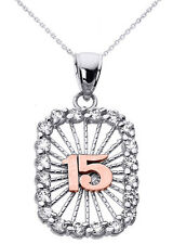 14k Two Tone White Gold Sweet 15 Años Quinceañera CZ Rectangle Pendant Necklace