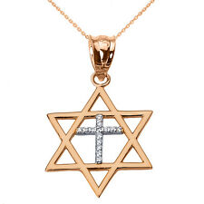 14k Rose Solid Gold Jewish Israel Star of David Diamond Cross Pendant Necklace