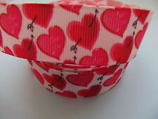 """Grosgrain Love Heart with Cupids Bow Ribbon 7/8"""" 22mm"""