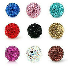 Free Ship 10pcs Disco Ball Pave CZ Crystal Spacer Beads Fit Bracelet 8-12mm