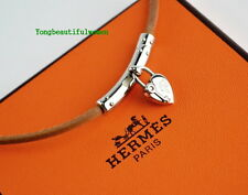 AUTHENTIC HERMES Heart Cadena Fantasy Palladium Leather Choker