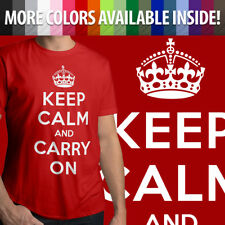 Keep Calm And Carry On Political British WWII Mens Crew Neck Tee Unisex T-Shirt