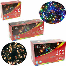 40 100 200 White MultiColour Traditional Indoor Fairy Light Christmas Decoration