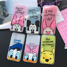 Cartoon Lovely Couple Soft TPU +Hard PC Clear Case Cover for iPhone 5S 6 6S Plus