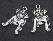 New 8/30/150pcs Tibetan Silver Lovely Pug Jewelry Finding Charms Pendant 21x18mm