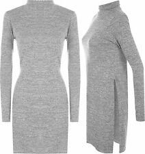 Womens Long Polo Neck Side Slit Long Sleeve Knit Jumper Top Ladies Midi Dress