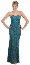 Vintage Lace Old Hollywood Fitted Formal Prom Dress Plus Size Elegant