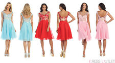 Short Homecoming Cap Sleeve Chiffon Knee Length Formal Cocktail Party Dress