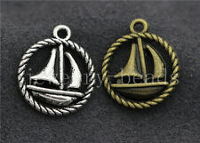 New 10/40/200pcs Antique Silver Exquisite Sailboat Jewelry Charm Pendant 19x16mm