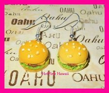 Set of 3 Earrings Emo Happy Hamburger Coke French Fries Harajuku Silver Gold USA